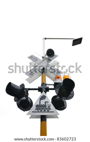 Train signal light with warning in Thai - stock photo