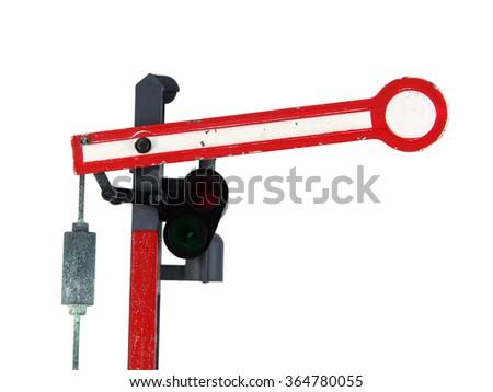 Train signal model. Small model of train signal. - stock photo