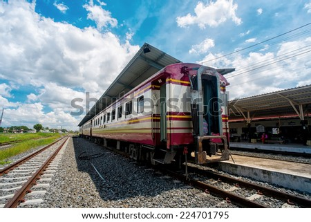 train station and blue Sky - stock photo