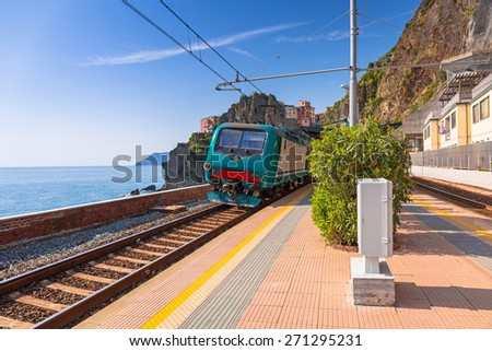 Train station at Cinque Terre National Park, Manarola in Italy. - stock photo