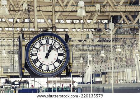 Train station clock - stock photo