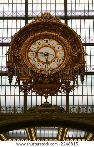 Train station clock from  Orsay  museum - stock photo