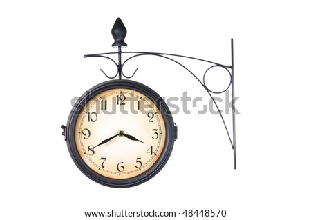 Train Station Clock isolated on white, studio shot - stock photo