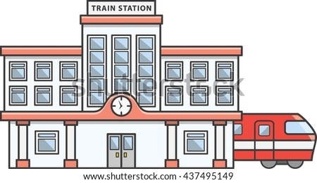 Train station Doodle Illustration cartoon - stock photo