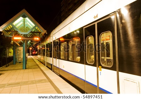 Train station in Hoboken at night, New Jersey - stock photo