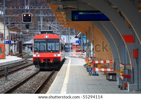 Train Station in Interlaken Switzerland - stock photo