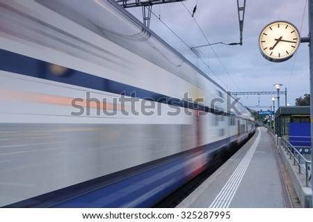Train station in Richterswil, Switerland - stock photo