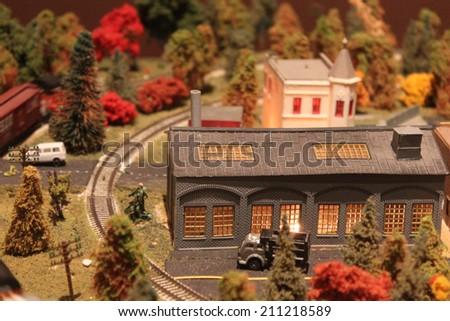Train station of a miniature train - stock photo