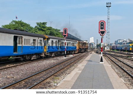 Train station signal traffic light, taken on sunny day - stock photo