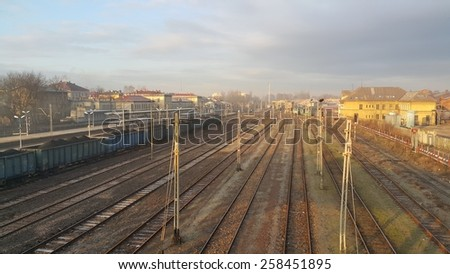 Train station with platforms. View from above - stock photo