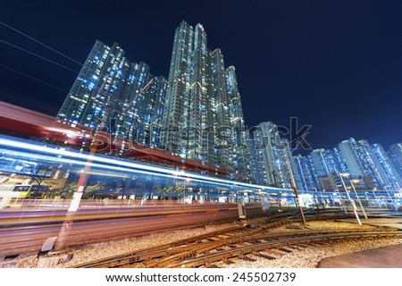 train station with urban background in Hong Kong - stock photo