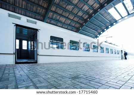 train stay on wet platform in subway - stock photo