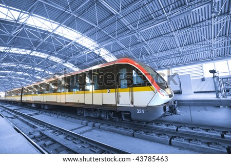train,stop in the railway station shanghai china. - stock photo