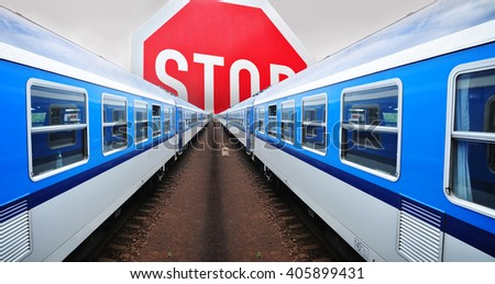 Train stoppage, railway stopping illegal immigration - stock photo