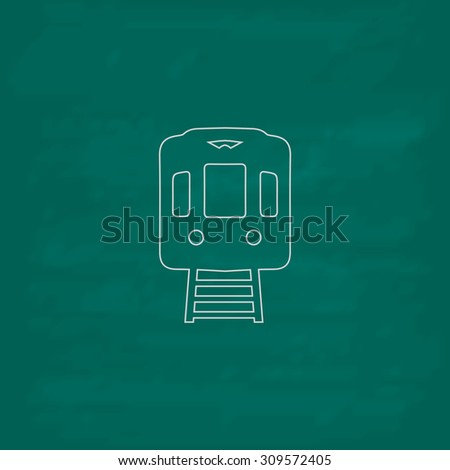 Train subway. Outline icon. Imitation draw with white chalk on green chalkboard. Flat Pictogram and School board background. Illustration symbol - stock photo