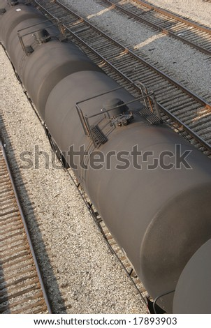 Train Tanker Cars - stock photo