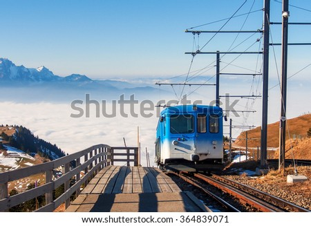 train to the top of mountain Rigi in Luzern, Switzerland