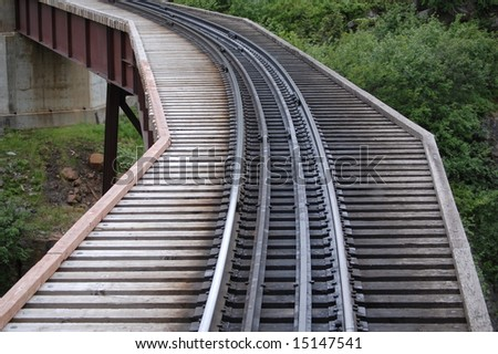 Train Track & bridge - stock photo