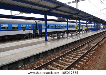 Train track, railway station or platform. - stock photo