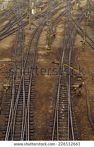 Train tracks. Aerial view of railway at the station.