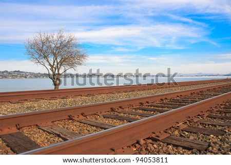 Train tracks along the San Pablo Bay, California