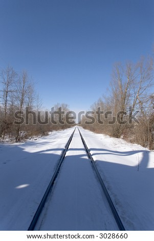 Train Tracks in Snow - stock photo