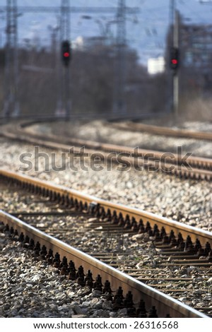 train tracks with selective focus