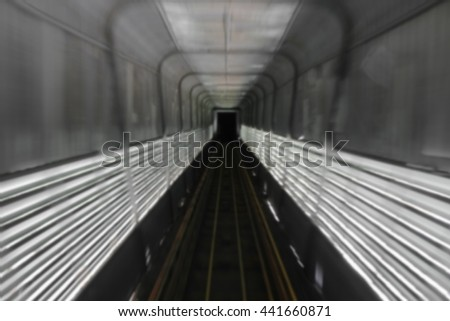 train tunnel with motion blur deep under space, for text and May You be used as background - stock photo