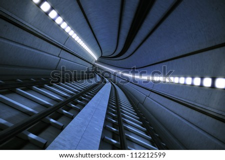 Train Tunnel with motion blur, in post production added grain and effects - stock photo