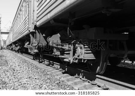 Train Wheels Perspective - stock photo