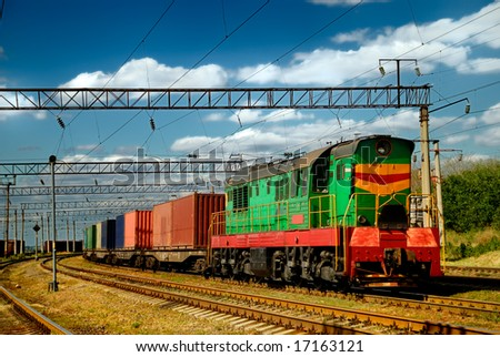 train with containers - stock photo