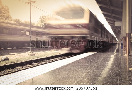 train with motion blur, vintage color filter