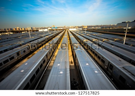 Train yard New York City - stock photo
