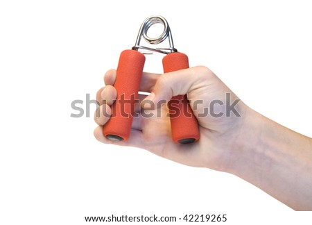 trainer for a hand in hand isolated on a white background - stock photo