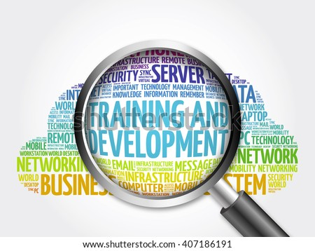 Training and Development word cloud with magnifying glass, business concept - stock photo