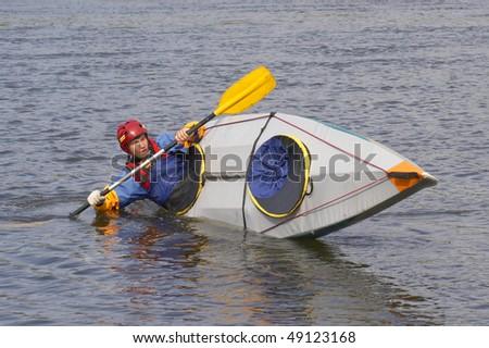 Training before rafting - stock photo