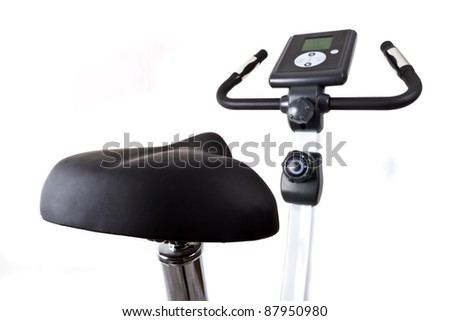 Training bicycle isolated on white - stock photo