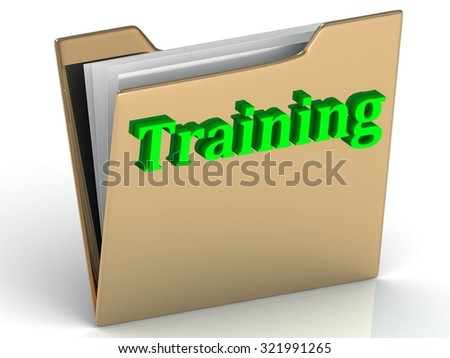 Training bright green letters on a golds folder on a white background - stock photo