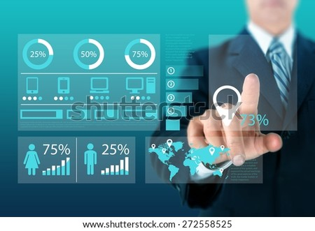 Training. Business hand with business concept - stock photo
