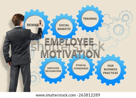Training. Business man with employee motivation concept - stock photo