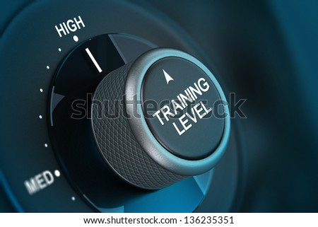 Training button pointing on high level, 3d render image with blue tones and blur effect - stock photo