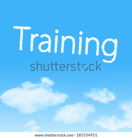 Training cloud icon with design on blue sky background - stock photo