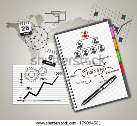 Training concept illustration design over a notebook - stock photo