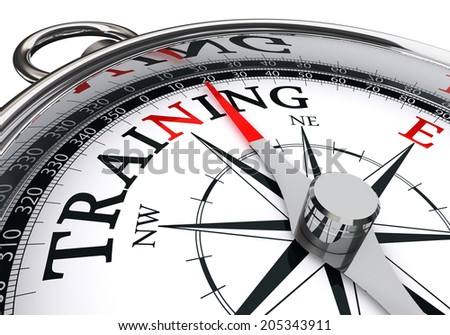 training conceptual compass isolated on white background - stock photo