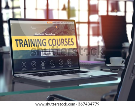 Training Courses Concept. Closeup Landing Page on Laptop Screen  on background of Comfortable Working Place in Modern Office. Blurred, Toned 3d Illustration. - stock photo