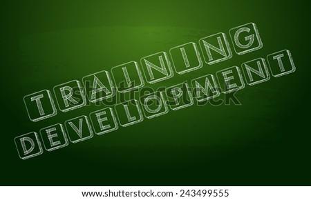 training  development chalk text over black board - stock photo