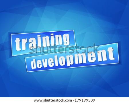 training development over blue background, flat design, business education concept words - stock photo