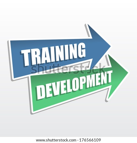 training development - text in arrows, business education concept, flat design - stock photo