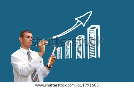 Training for successful business. Businessman and schedule of growth in financial profit