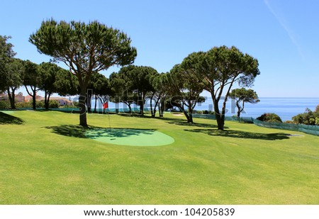 Training golf course in the Algarve coastline landscape. Portugal - stock photo